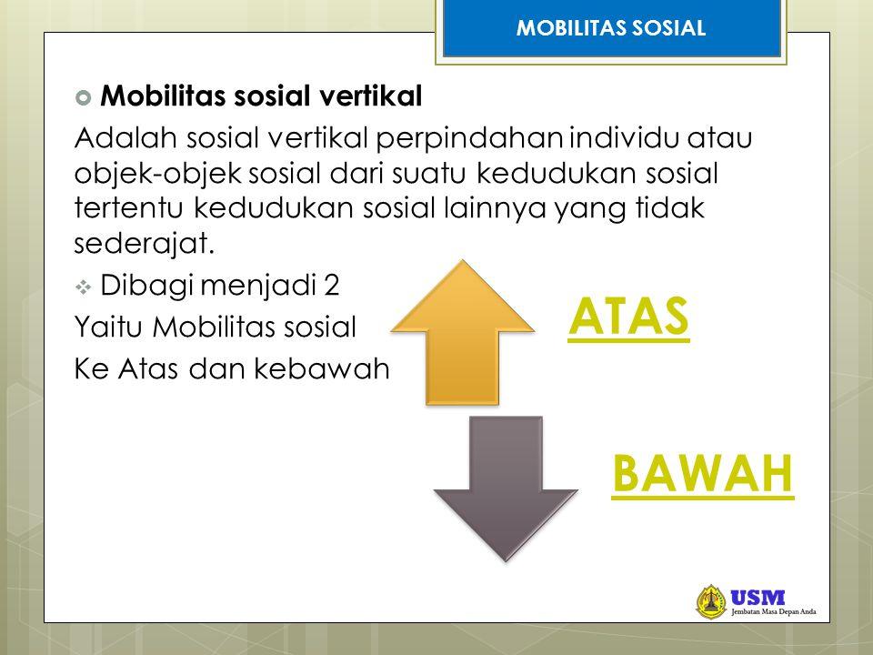 STRATIFIKASI SOSIAL  Mobilitas sosial vertikal Adalah sosial vertikal perpindahan individu atau objek-objek sosial dari suatu kedudukan sosial tertentu kedudukan sosial lainnya yang tidak sederajat.