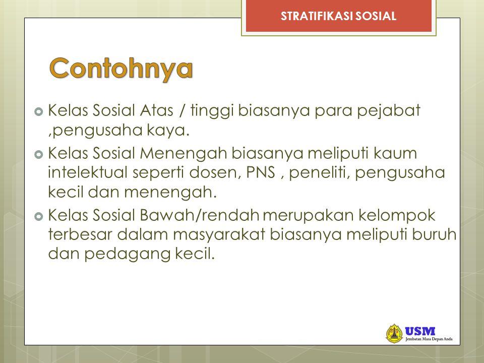 STRATIFIKASI SOSIAL Contoh  Ascribed status : anak dari kasta Brahmana masuk ke dalam kasta Brahmana  Assigned status : gelar Bapak Koperasi kepada Mohammad Hatta karena beliau telah berjasa mengembangkan koperasi di Indonesia.