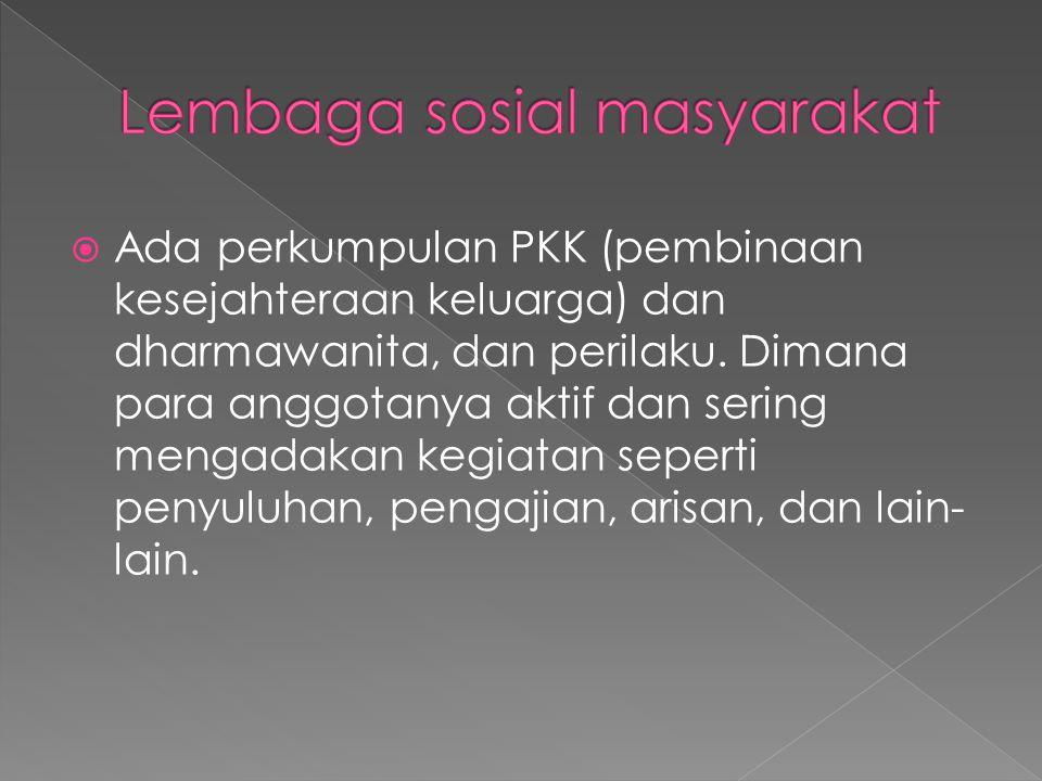  Ada perkumpulan PKK (pembinaan kesejahteraan keluarga) dan dharmawanita, dan perilaku.