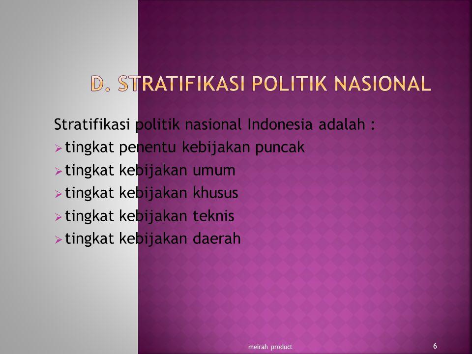 Stratifikasi politik nasional Indonesia adalah :  tingkat penentu kebijakan puncak  tingkat kebijakan umum  tingkat kebijakan khusus  tingkat kebi