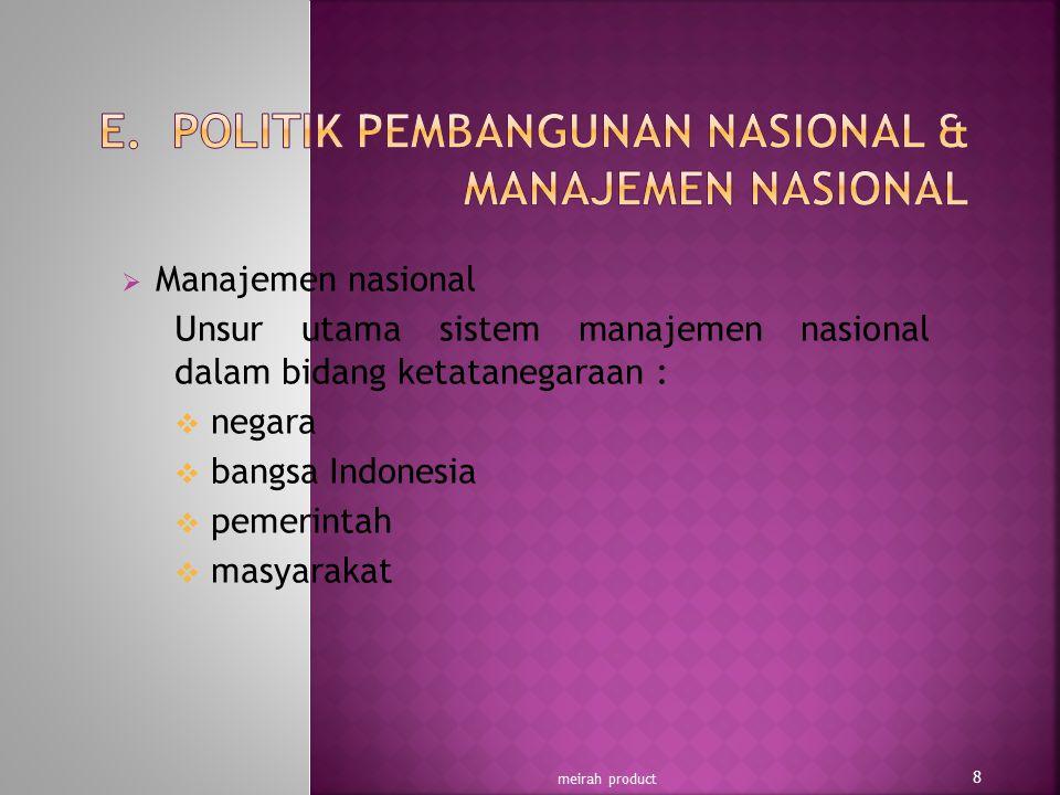  Manajemen nasional Unsur utama sistem manajemen nasional dalam bidang ketatanegaraan :  negara  bangsa Indonesia  pemerintah  masyarakat meirah