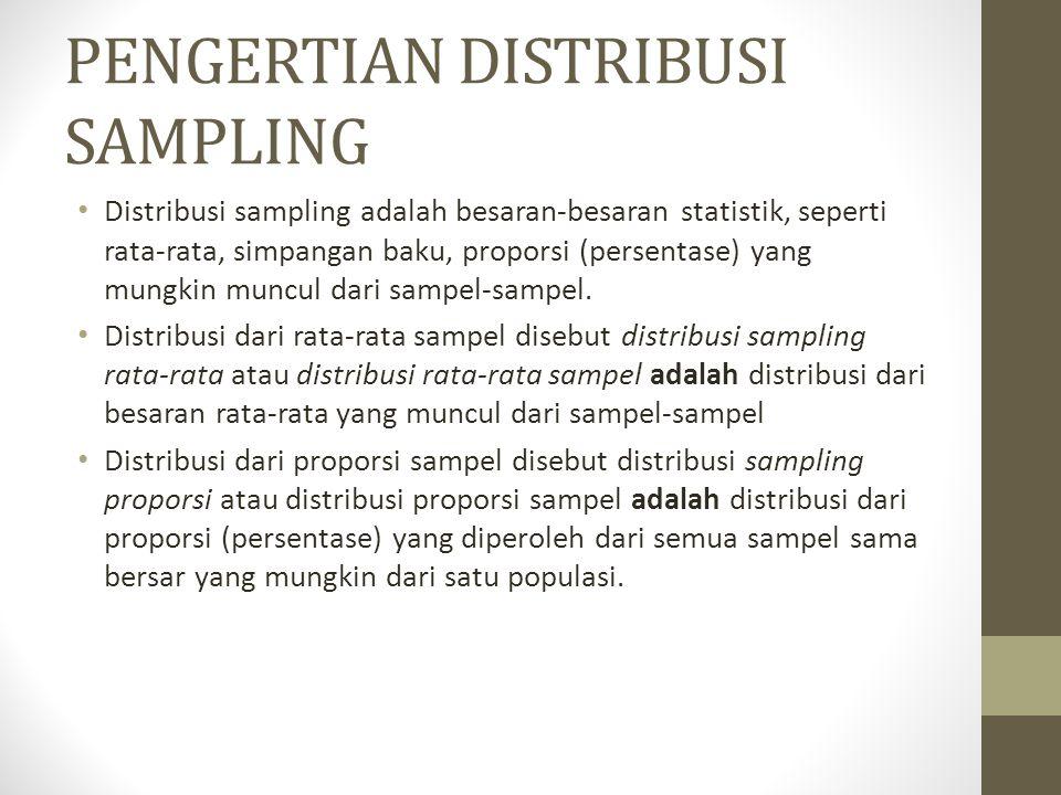 PENGERTIAN DISTRIBUSI SAMPLING Distribusi sampling adalah besaran-besaran statistik, seperti rata-rata, simpangan baku, proporsi (persentase) yang mun