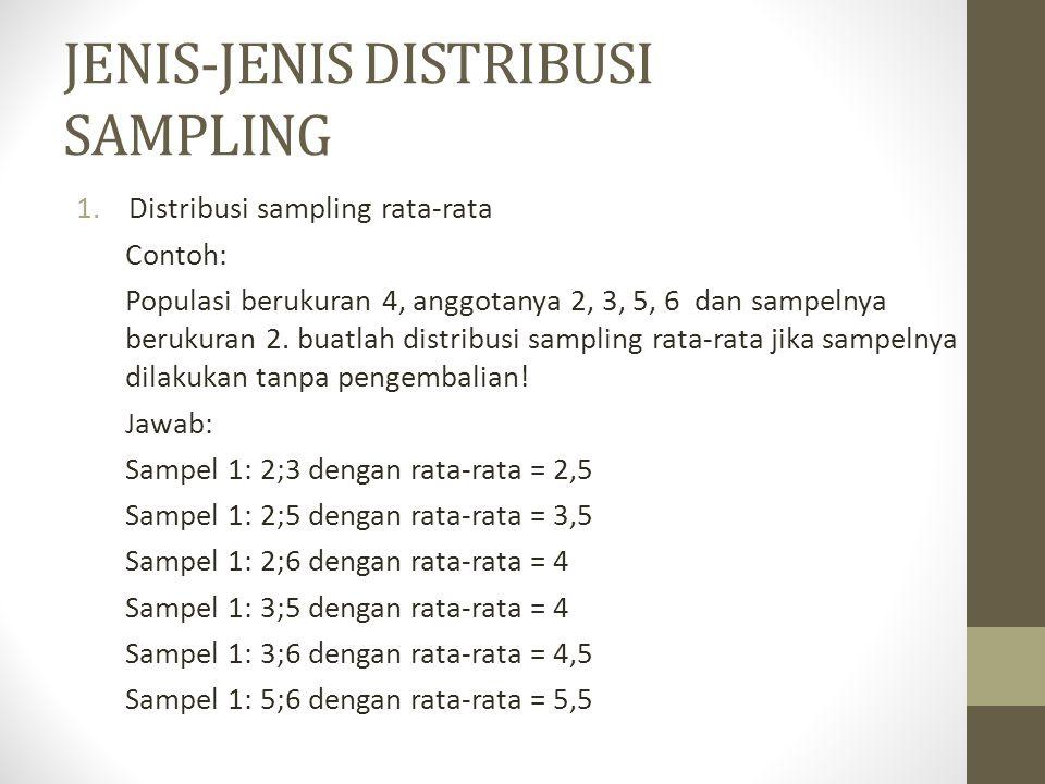 JENIS-JENIS DISTRIBUSI SAMPLING 1.Distribusi sampling rata-rata Contoh: Populasi berukuran 4, anggotanya 2, 3, 5, 6 dan sampelnya berukuran 2. buatlah