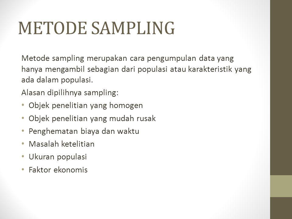 METODE SAMPLING Metode sampling merupakan cara pengumpulan data yang hanya mengambil sebagian dari populasi atau karakteristik yang ada dalam populasi