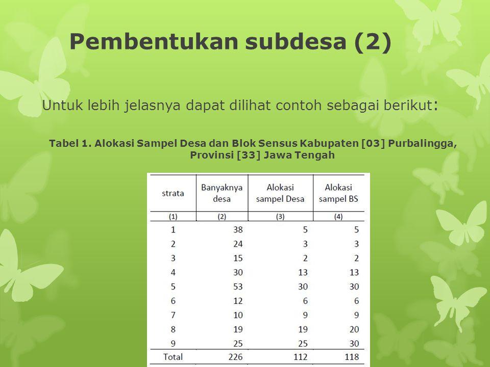 Pembentukan subdesa (2) Untuk lebih jelasnya dapat dilihat contoh sebagai berikut : Tabel 1. Alokasi Sampel Desa dan Blok Sensus Kabupaten [03] Purbal