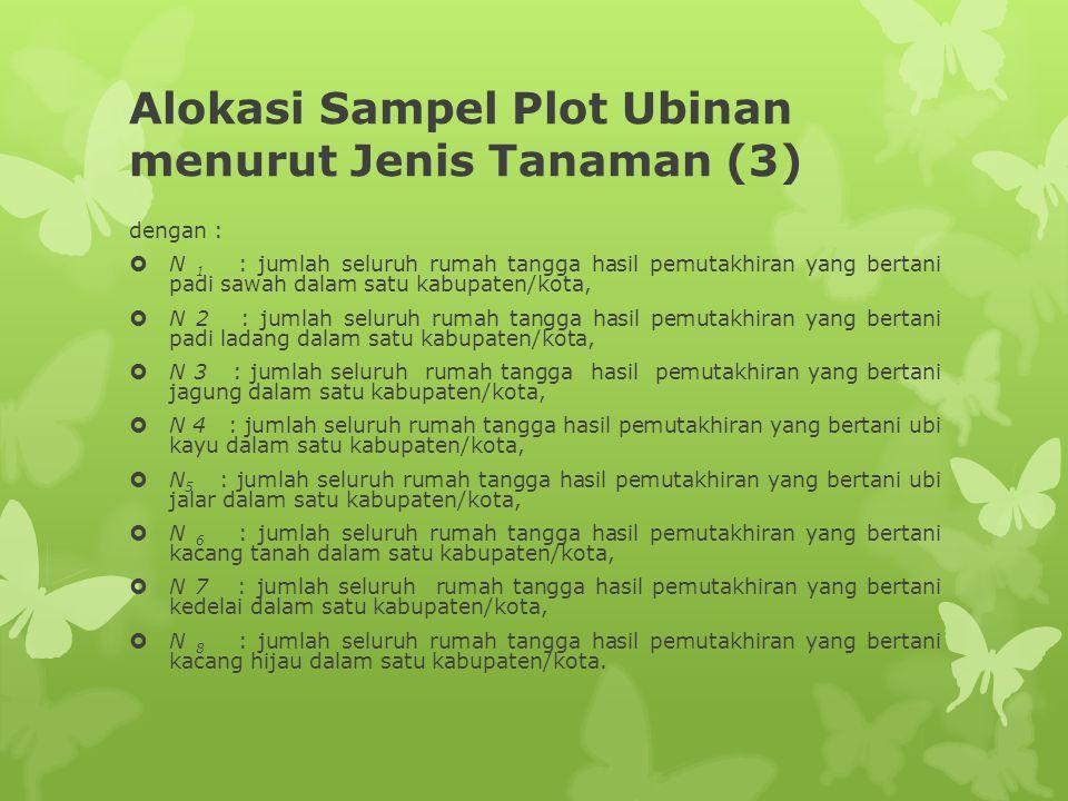 Alokasi Sampel Plot Ubinan menurut Jenis Tanaman (3) dengan :  N 1 : jumlah seluruh rumah tangga hasil pemutakhiran yang bertani padi sawah dalam sat