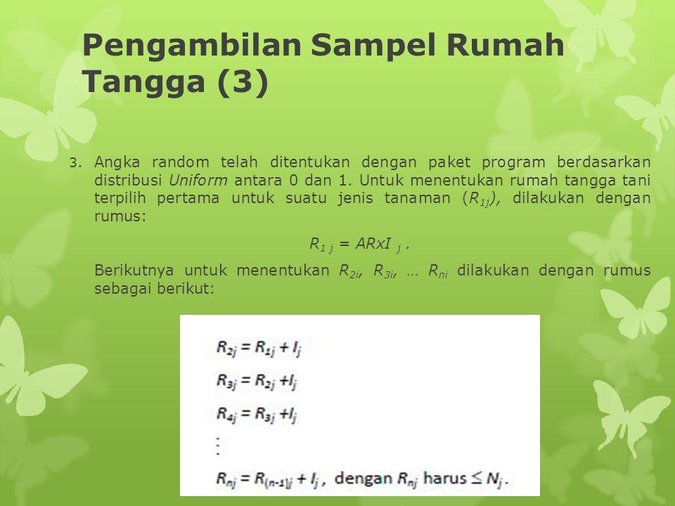 Pengambilan Sampel Rumah Tangga (3) 3. Angka random telah ditentukan dengan paket program berdasarkan distribusi Uniform antara 0 dan 1. Untuk menentu
