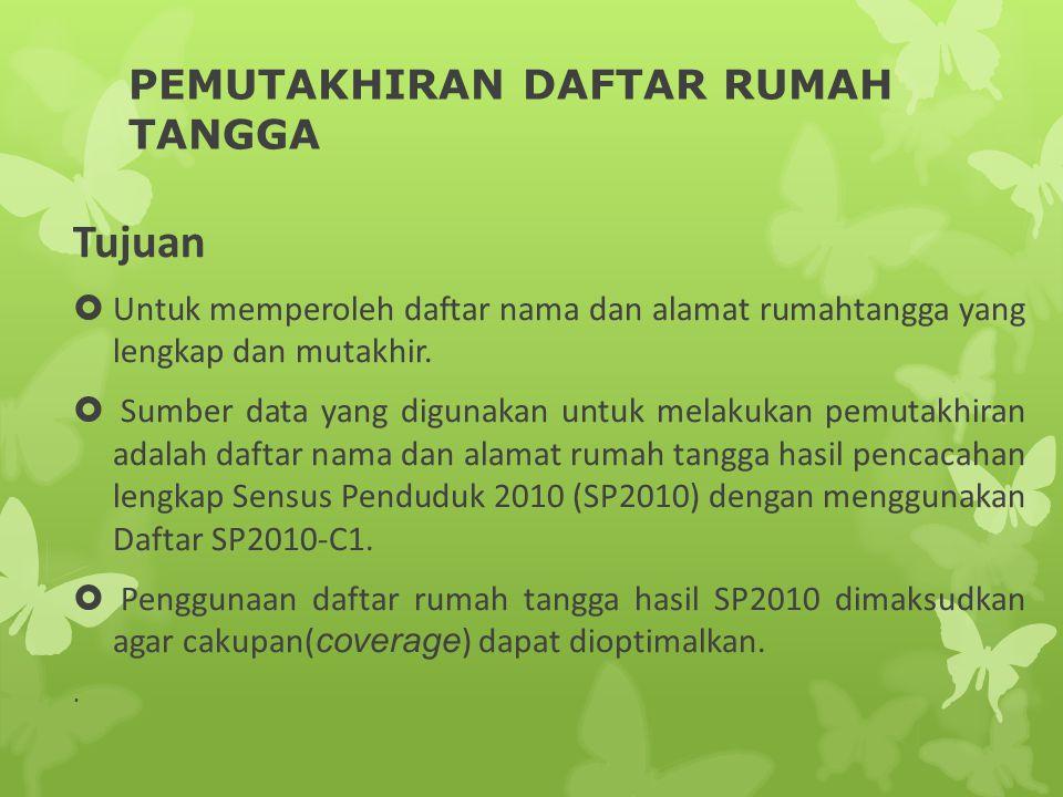 PEMUTAKHIRAN DAFTAR RUMAH TANGGA Tujuan  Untuk memperoleh daftar nama dan alamat rumahtangga yang lengkap dan mutakhir.  Sumber data yang digunakan