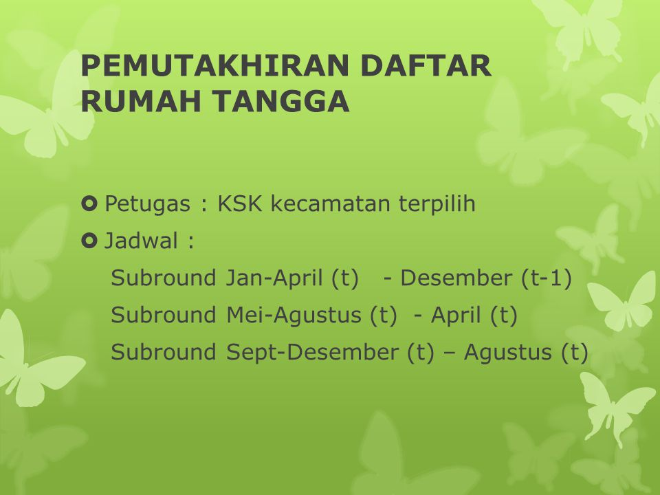 PEMUTAKHIRAN DAFTAR RUMAH TANGGA  Petugas : KSK kecamatan terpilih  Jadwal : Subround Jan-April (t) - Desember (t-1) Subround Mei-Agustus (t) - Apri