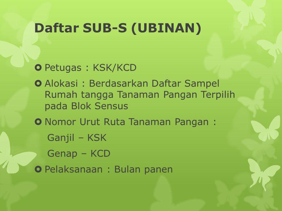 Daftar SUB-S (UBINAN)  Petugas : KSK/KCD  Alokasi : Berdasarkan Daftar Sampel Rumah tangga Tanaman Pangan Terpilih pada Blok Sensus  Nomor Urut Rut