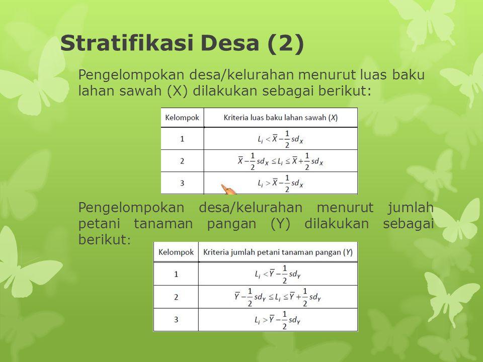 Stratifikasi Desa (3) Selanjutnya berdasarkan pengelompokan desa/kelurahan menurutkedua variabel tersebut diatas dapat diperoleh maksimun 9 strata desa/kelurahan, yaitu: