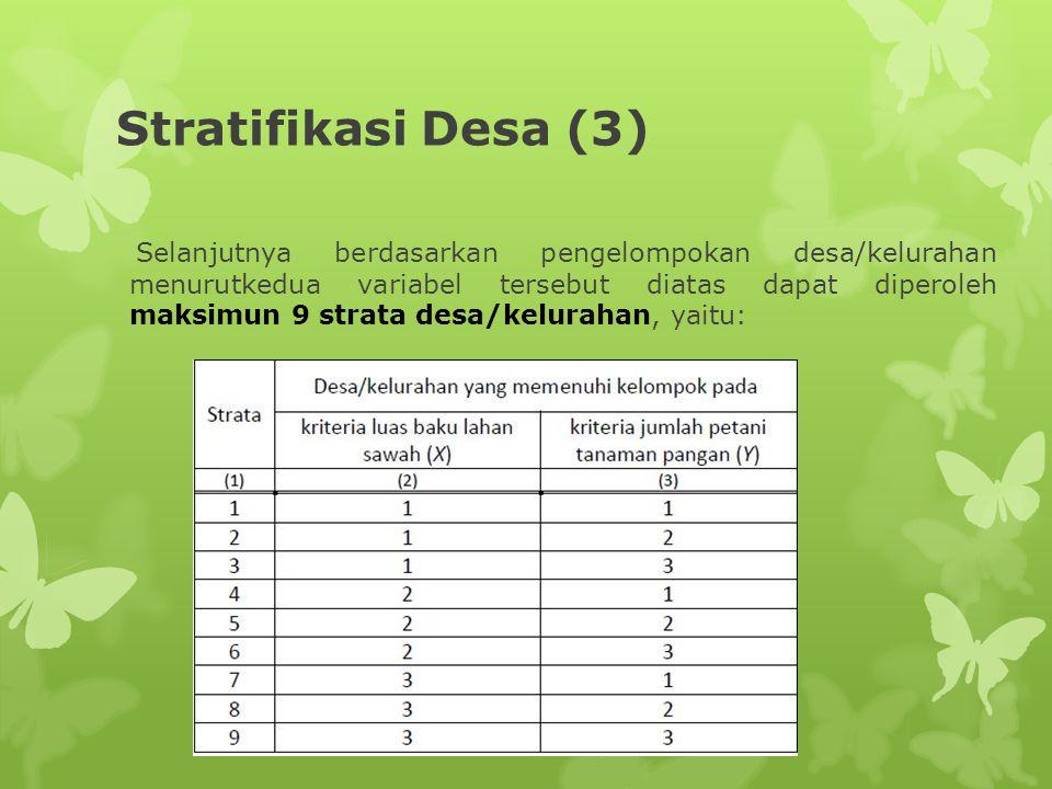 Stratifikasi Desa (3) Selanjutnya berdasarkan pengelompokan desa/kelurahan menurutkedua variabel tersebut diatas dapat diperoleh maksimun 9 strata des