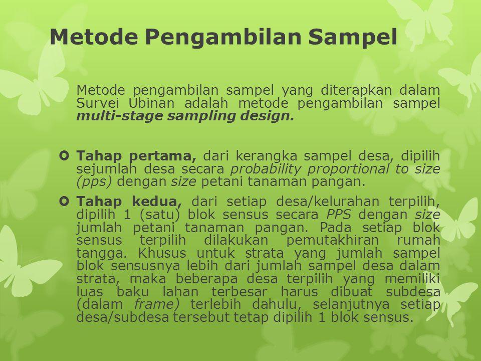 Metode Pengambilan Sampel (2)  Tahap ketiga, dari hasil pemutakhiran rumah tangga, dipilih rumah tangga yang akan panen pada subround tertentu secara sistematik.