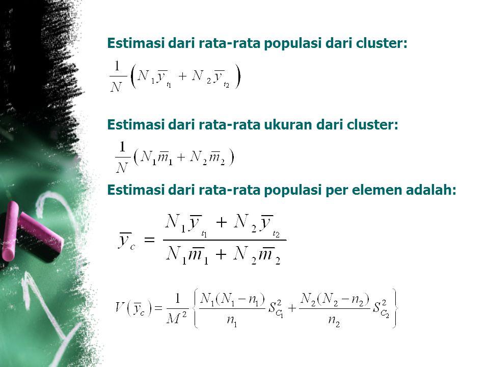 Estimasi dari rata-rata populasi dari cluster: Estimasi dari rata-rata ukuran dari cluster: Estimasi dari rata-rata populasi per elemen adalah: