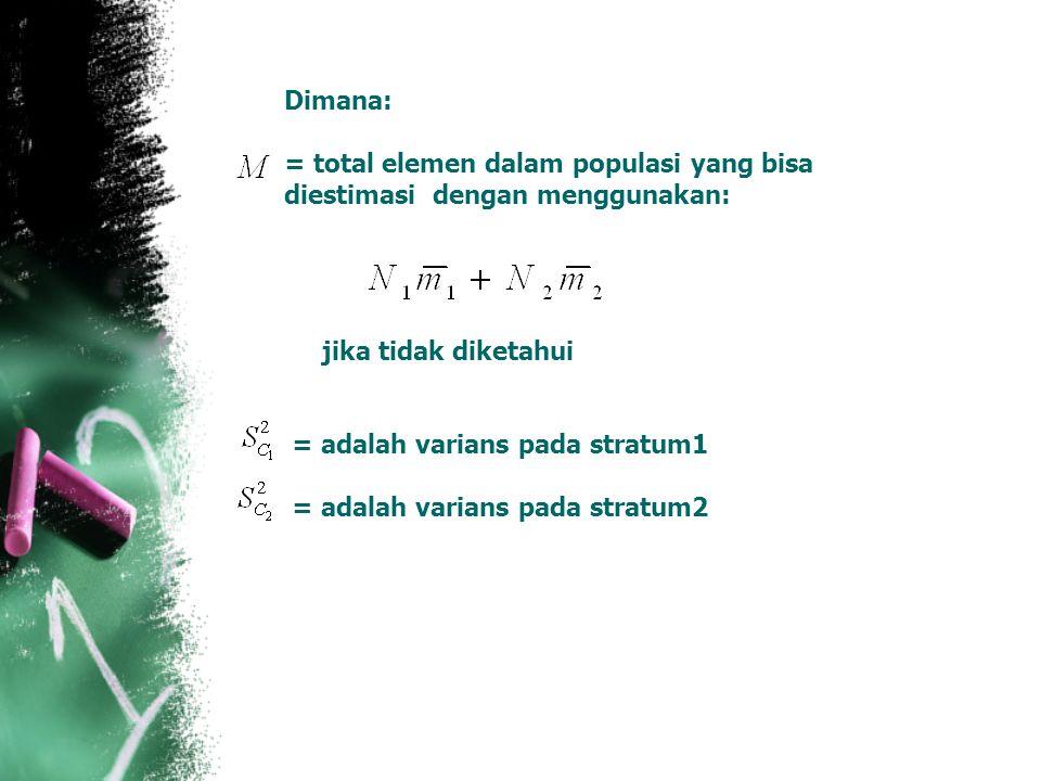 Dimana: = total elemen dalam populasi yang bisa diestimasi dengan menggunakan: jika tidak diketahui = adalah varians pada stratum1 = adalah varians pa