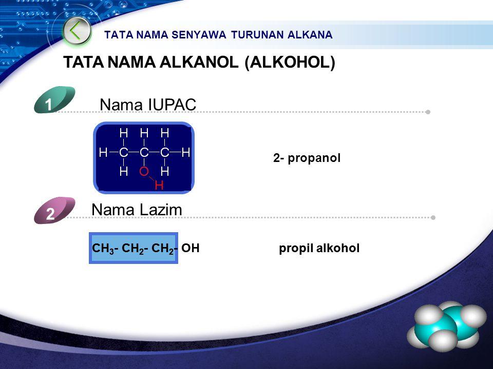 LOGO TATA NAMA SENYAWA TURUNAN ALKANA TATA NAMA ALKANOL (ALKOHOL) Nama IUPAC1 Nama Lazim 2 2- propanol 5 4 CH 3 - CH 2 - CH 2 - OH propil alkohol