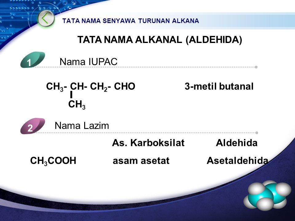 LOGO TATA NAMA SENYAWA TURUNAN ALKANA TATA NAMA ALKANAL (ALDEHIDA) Nama IUPAC 1 Nama Lazim 2 5 4 CH 3 - CH- CH 2 - CHO 3-metil butanal CH 3 As.