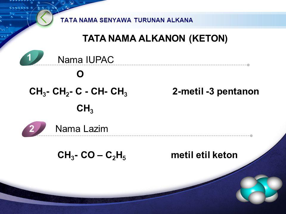 LOGO TATA NAMA SENYAWA TURUNAN ALKANA TATA NAMA ALKANON (KETON) Nama IUPAC 1 Nama Lazim2 5 4 O CH 3 - CH 2 - C - CH- CH 3 2-metil -3 pentanon CH 3 CH 3 - CO – C 2 H 5 metil etil keton