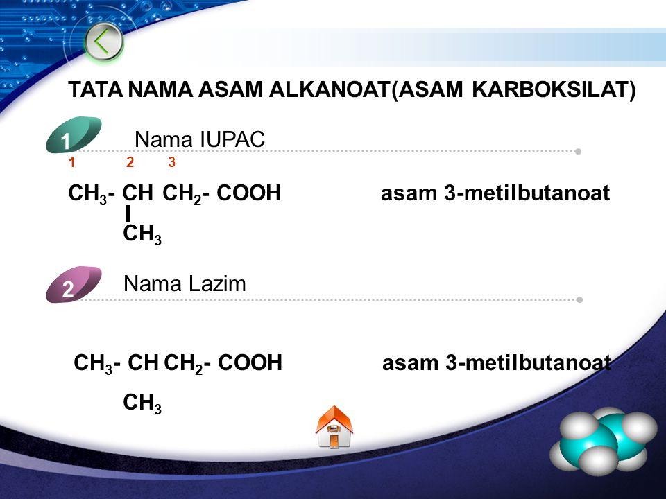 LOGO TATA NAMA ASAM ALKANOAT(ASAM KARBOKSILAT) Nama IUPAC 1 Nama Lazim 2 5 4 1 2 3 CH 3 - CH CH 2 - COOH asam 3-metilbutanoat CH 3 CH 3 - CH CH 2 - COOH asam 3-metilbutanoat CH 3