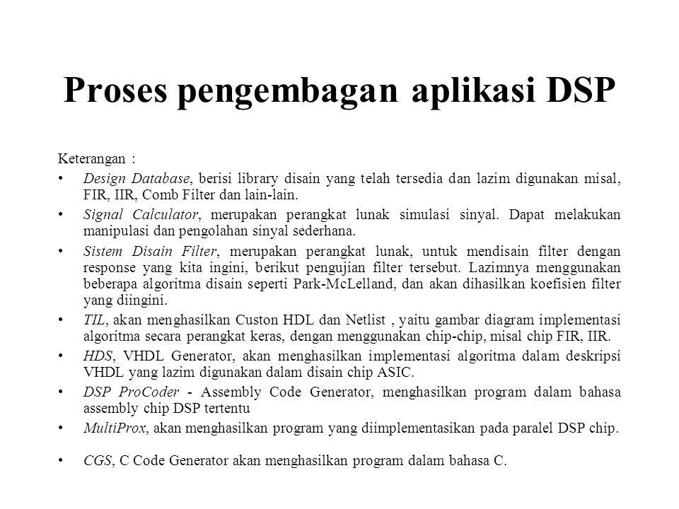 Keterangan : Design Database, berisi library disain yang telah tersedia dan lazim digunakan misal, FIR, IIR, Comb Filter dan lain-lain. Signal Calcula