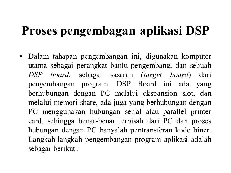 Proses pengembagan aplikasi DSP Dalam tahapan pengembangan ini, digunakan komputer utama sebagai perangkat bantu pengembang, dan sebuah DSP board, seb
