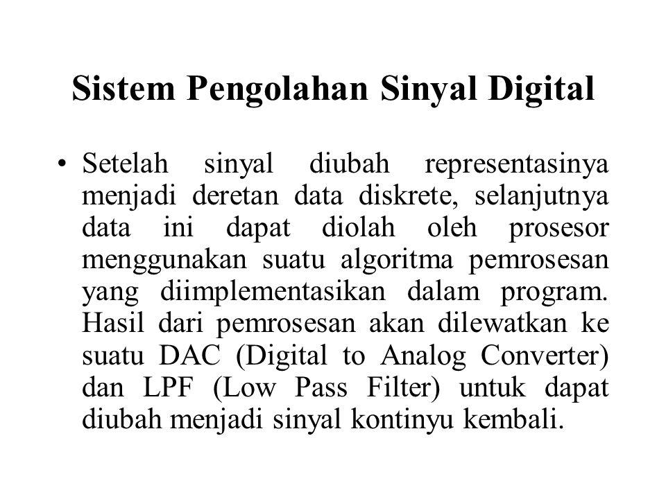 Sistem Pengolahan Sinyal Digital Setelah sinyal diubah representasinya menjadi deretan data diskrete, selanjutnya data ini dapat diolah oleh prosesor