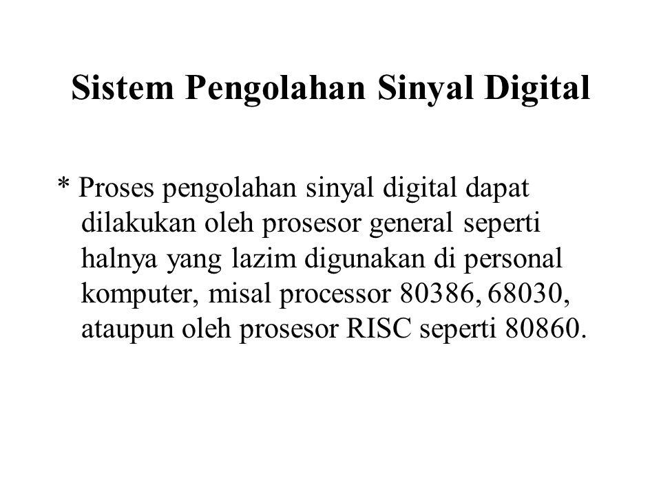 Sistem Pengolahan Sinyal Digital Untuk kebutuhan pemrosesan real time, dibutuhkan prosesor yang khusus dirancang untuk tujuan tersebut, misal ADSP2100, DSP56001, TMS320C25, atau untuk kebutuhan proses yang cepat dapat digunakan paralel chip TMS320C40.