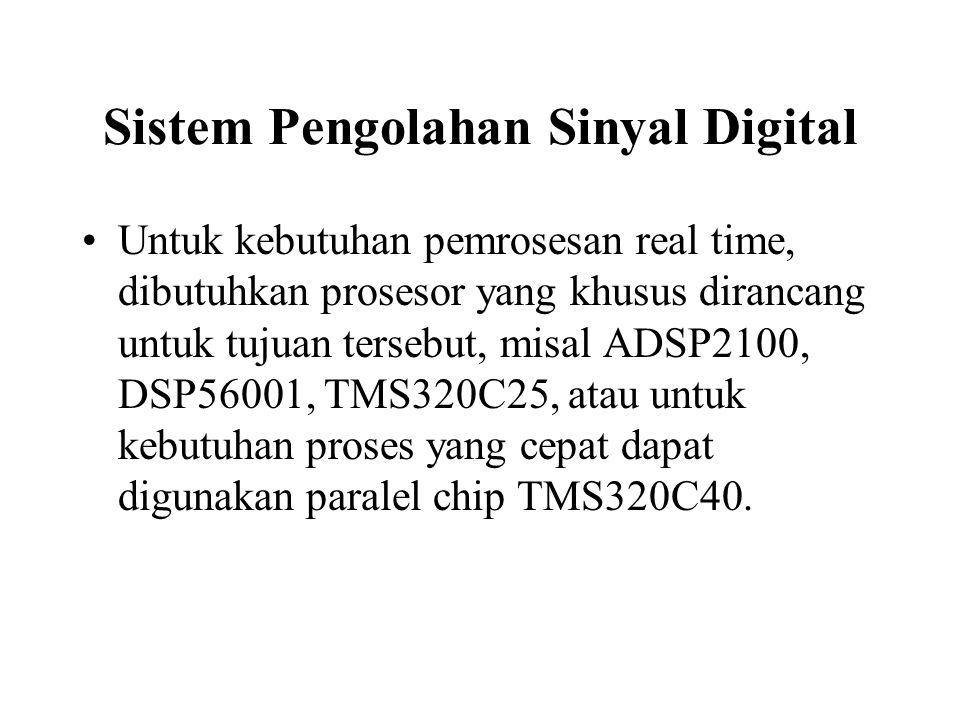Sistem Pengolahan Sinyal Digital Untuk kebutuhan pemrosesan real time, dibutuhkan prosesor yang khusus dirancang untuk tujuan tersebut, misal ADSP2100