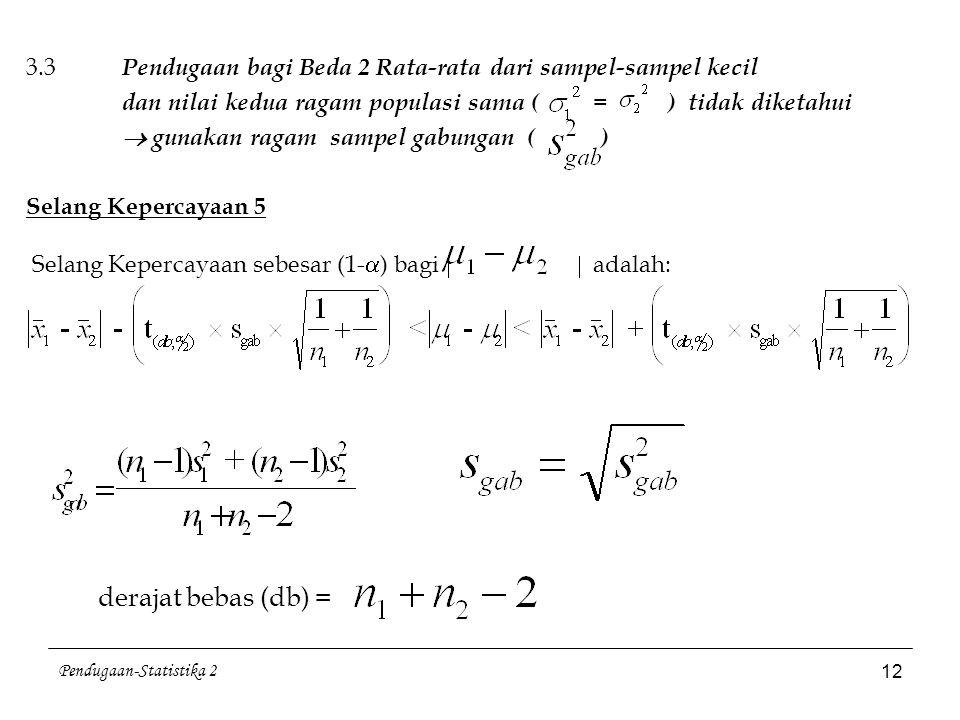 Pendugaan-Statistika 2 12 3.3 Pendugaan bagi Beda 2 Rata-rata dari sampel-sampel kecil dan nilai kedua ragam populasi sama ( = ) tidak diketahui  gun