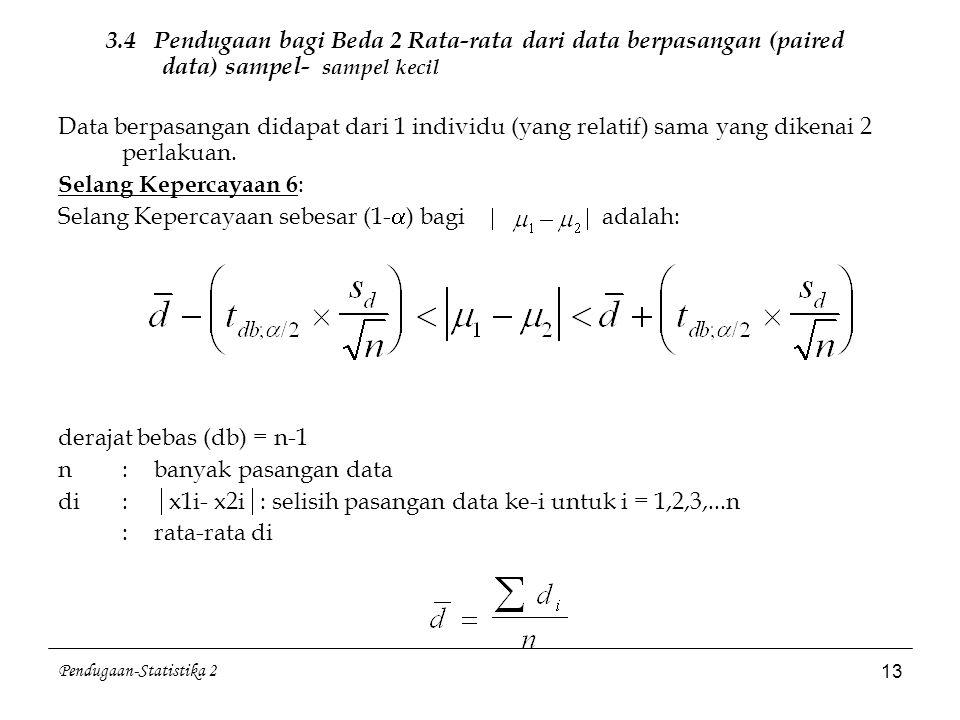 Pendugaan-Statistika 2 13 3.4 Pendugaan bagi Beda 2 Rata-rata dari data berpasangan (paired data) sampel- sampel kecil Data berpasangan didapat dari 1