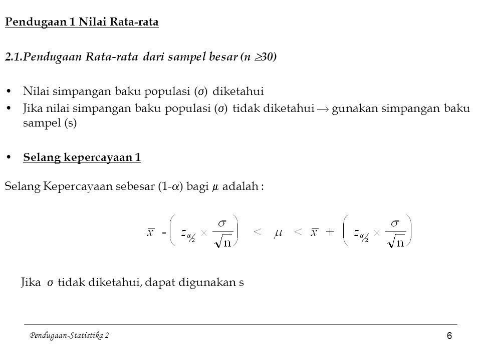 Pendugaan-Statistika 2 7 Ukuran Sampel bagi pendugaan  Pada Derajat Kepercayaan (1-  ) ukuran sampel dengan Error (galat) maksimal = E adalah n dibulatkan ke bilangan bulat terdekat terbesar (fungsi ceiling) jika  tidak diketahui, gunakan s E : error maksimal  selisih dengan  Contoh 2: Dari 36 mahasiswa tingkat II diketahui bahwa rata-rata IPK = 2.6 dengan simpangan baku = 0.3.
