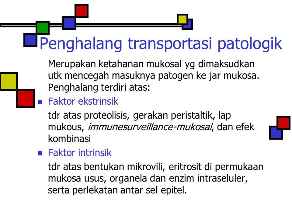 Penghalang transportasi patologik Merupakan ketahanan mukosal yg dimaksudkan utk mencegah masuknya patogen ke jar mukosa. Penghalang terdiri atas: Fak