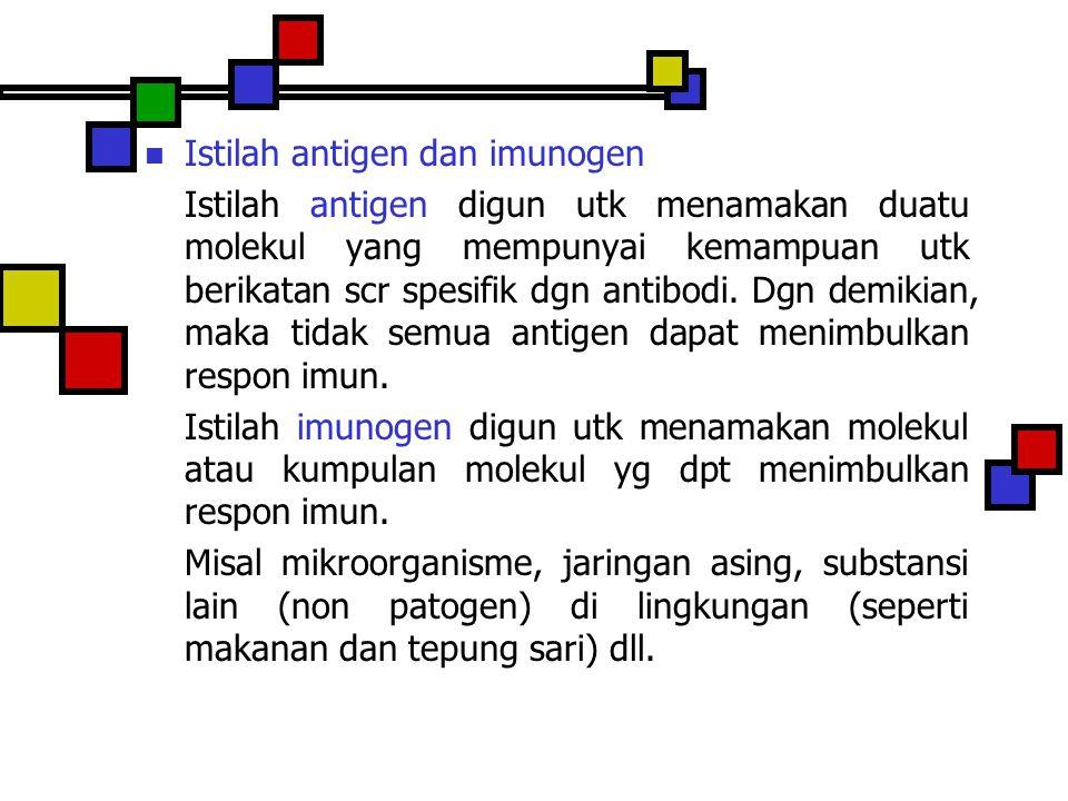 Istilah antigen dan imunogen Istilah antigen digun utk menamakan duatu molekul yang mempunyai kemampuan utk berikatan scr spesifik dgn antibodi. Dgn d
