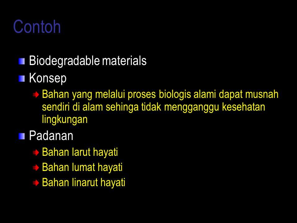 Contoh Biodegradable materials Konsep Bahan yang melalui proses biologis alami dapat musnah sendiri di alam sehinga tidak mengganggu kesehatan lingkun