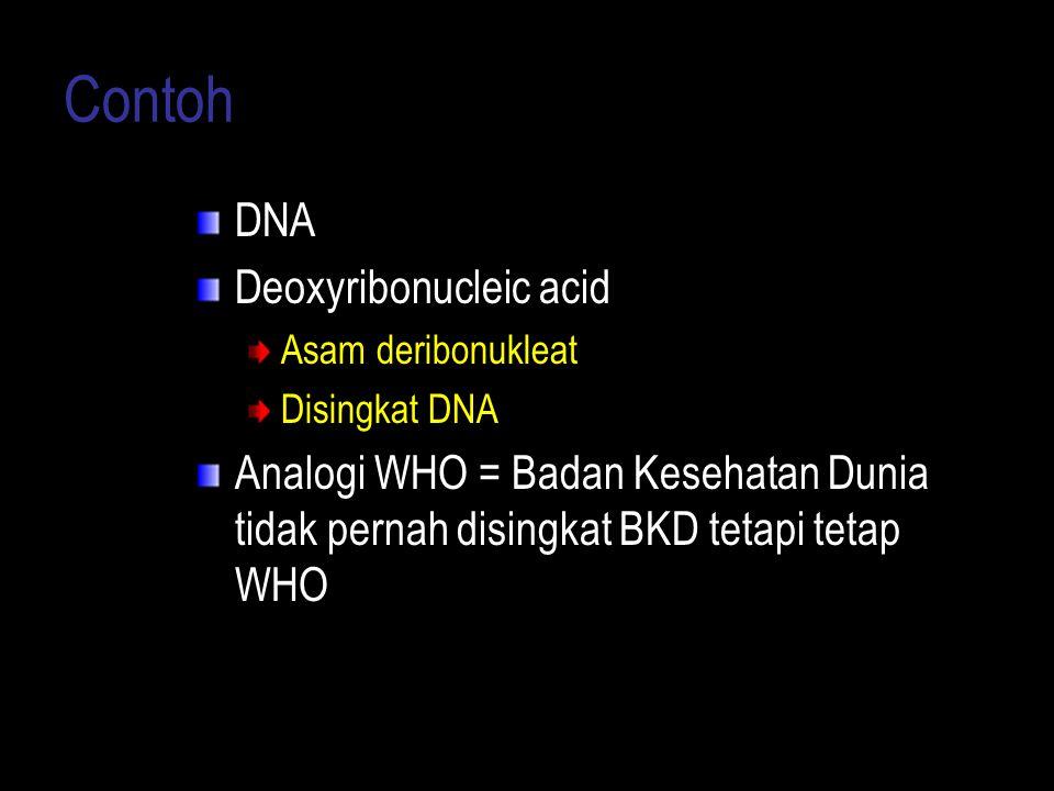 Contoh DNA Deoxyribonucleic acid Asam deribonukleat Disingkat DNA Analogi WHO = Badan Kesehatan Dunia tidak pernah disingkat BKD tetapi tetap WHO