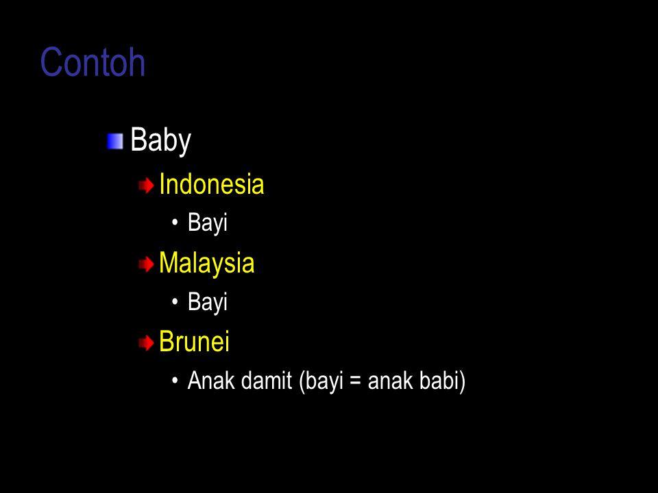 Contoh Baby Indonesia Bayi Malaysia Bayi Brunei Anak damit (bayi = anak babi)
