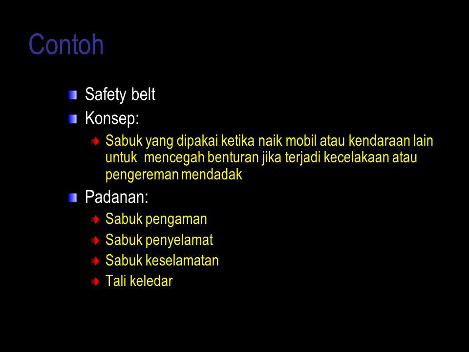 Contoh Safety belt Konsep: Sabuk yang dipakai ketika naik mobil atau kendaraan lain untuk mencegah benturan jika terjadi kecelakaan atau pengereman me