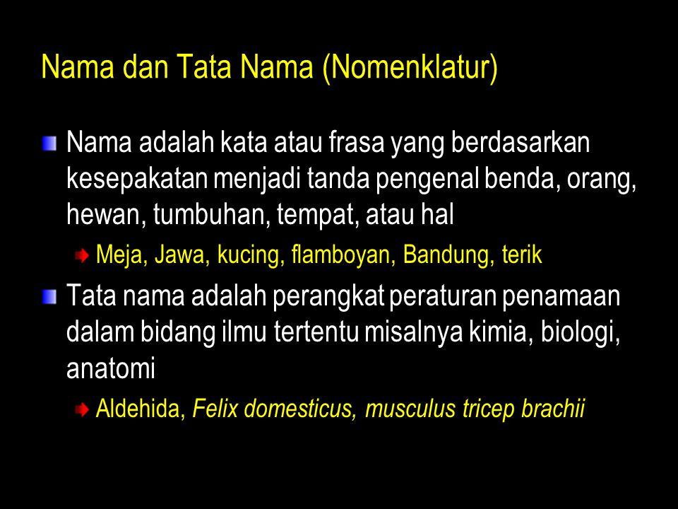 Nama dan Tata Nama (Nomenklatur) Nama adalah kata atau frasa yang berdasarkan kesepakatan menjadi tanda pengenal benda, orang, hewan, tumbuhan, tempat