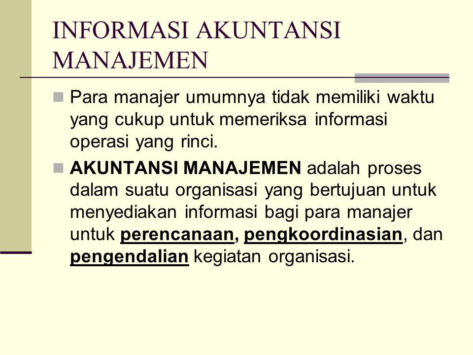 INFORMASI AKUNTANSI MANAJEMEN Para manajer umumnya tidak memiliki waktu yang cukup untuk memeriksa informasi operasi yang rinci. AKUNTANSI MANAJEMEN a