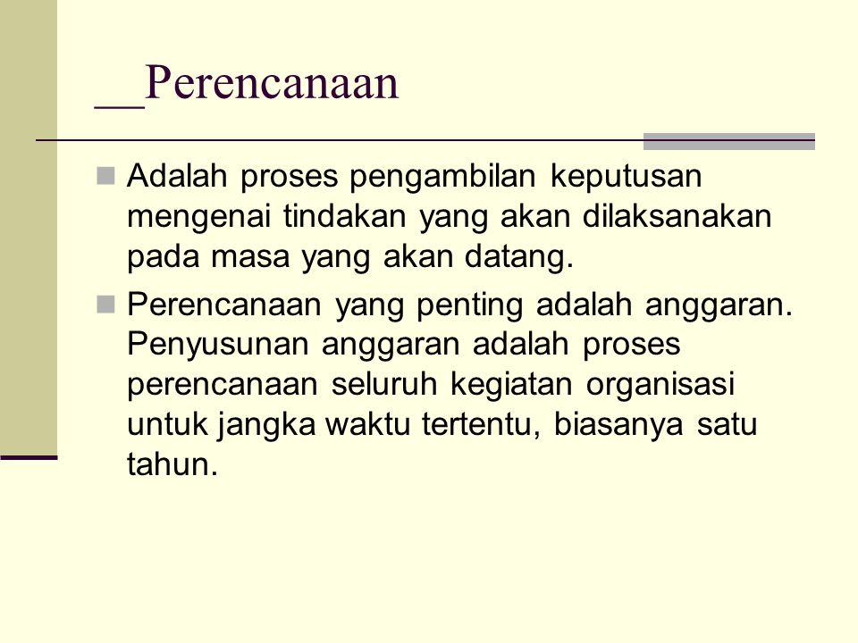 __Perencanaan Adalah proses pengambilan keputusan mengenai tindakan yang akan dilaksanakan pada masa yang akan datang. Perencanaan yang penting adalah