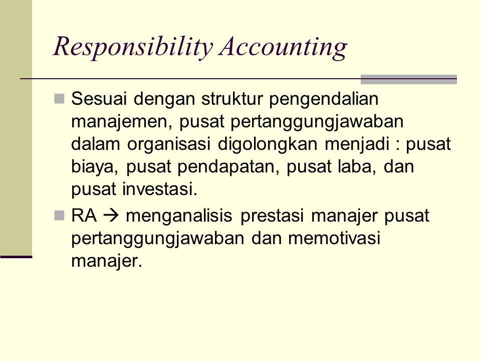 Responsibility Accounting Sesuai dengan struktur pengendalian manajemen, pusat pertanggungjawaban dalam organisasi digolongkan menjadi : pusat biaya,