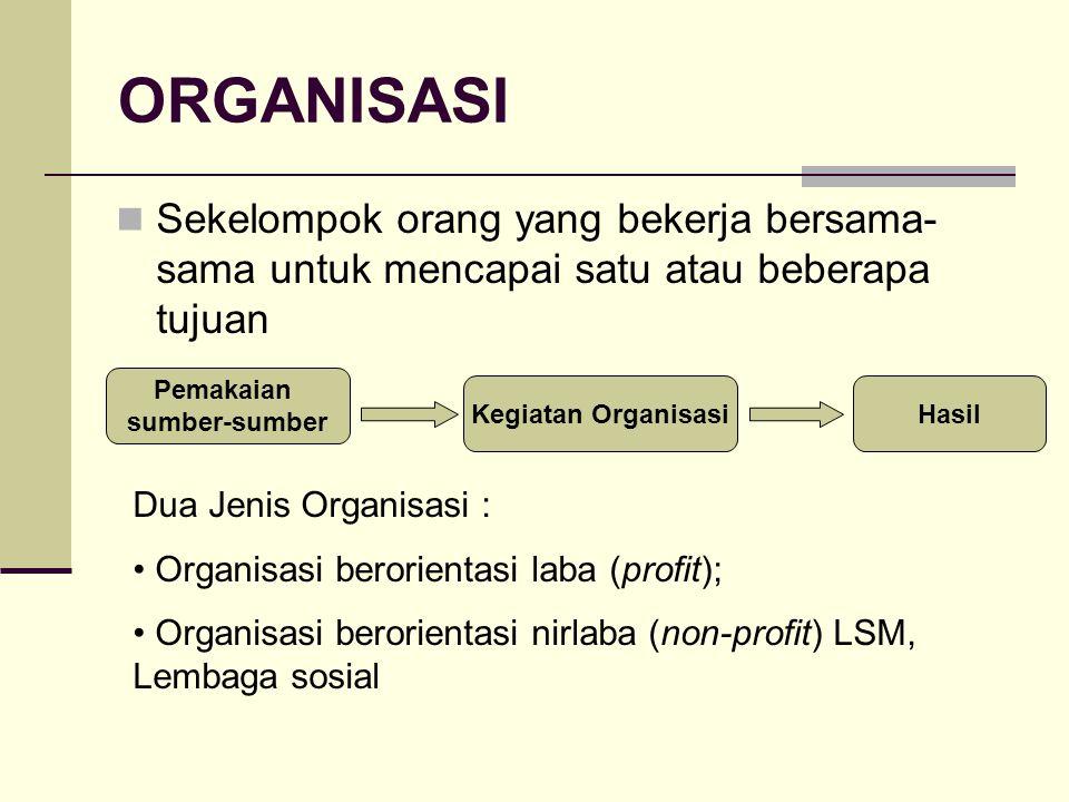 ORGANISASI Sekelompok orang yang bekerja bersama- sama untuk mencapai satu atau beberapa tujuan Pemakaian sumber-sumber Kegiatan OrganisasiHasil Dua J