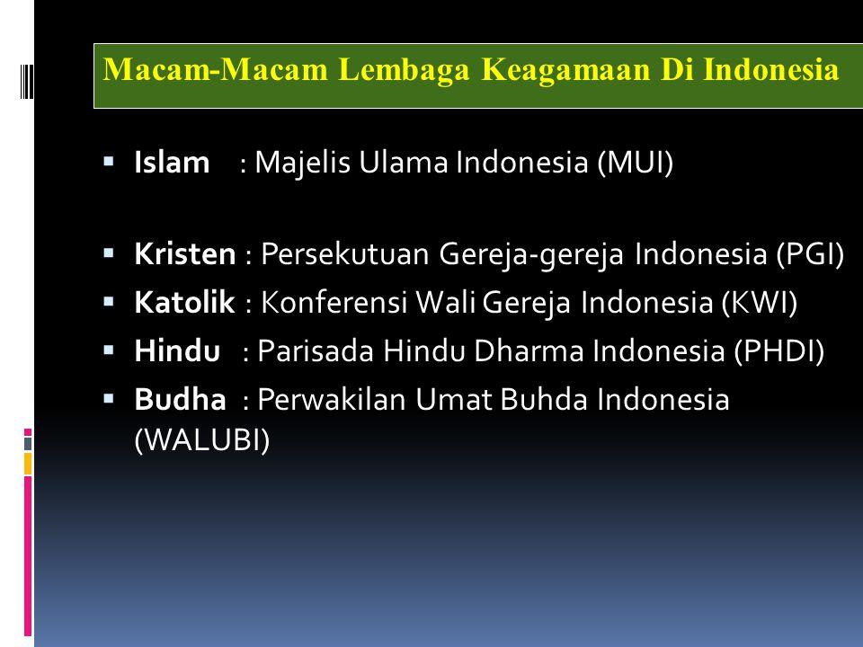  Islam : Majelis Ulama Indonesia (MUI)  Kristen : Persekutuan Gereja-gereja Indonesia (PGI)  Katolik : Konferensi Wali Gereja Indonesia (KWI)  Hindu : Parisada Hindu Dharma Indonesia (PHDI)  Budha : Perwakilan Umat Buhda Indonesia (WALUBI) Macam-Macam Lembaga Keagamaan Di Indonesia
