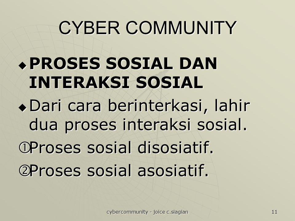 cybercommunity - joice c.siagian 11 CYBER COMMUNITY  PROSES SOSIAL DAN INTERAKSI SOSIAL  Dari cara berinterkasi, lahir dua proses interaksi sosial.