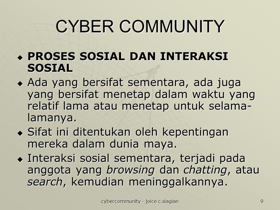 cybercommunity - joice c.siagian 9 CYBER COMMUNITY  PROSES SOSIAL DAN INTERAKSI SOSIAL  Ada yang bersifat sementara, ada juga yang bersifat menetap dalam waktu yang relatif lama atau menetap untuk selama- lamanya.