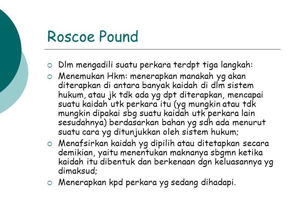 Roscoe Pound  Dlm mengadili suatu perkara terdpt tiga langkah:  Menemukan Hkm: menerapkan manakah yg akan diterapkan di antara banyak kaidah di dlm