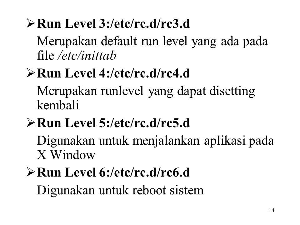 14  Run Level 3:/etc/rc.d/rc3.d Merupakan default run level yang ada pada file /etc/inittab  Run Level 4:/etc/rc.d/rc4.d Merupakan runlevel yang dapat disetting kembali  Run Level 5:/etc/rc.d/rc5.d Digunakan untuk menjalankan aplikasi pada X Window  Run Level 6:/etc/rc.d/rc6.d Digunakan untuk reboot sistem