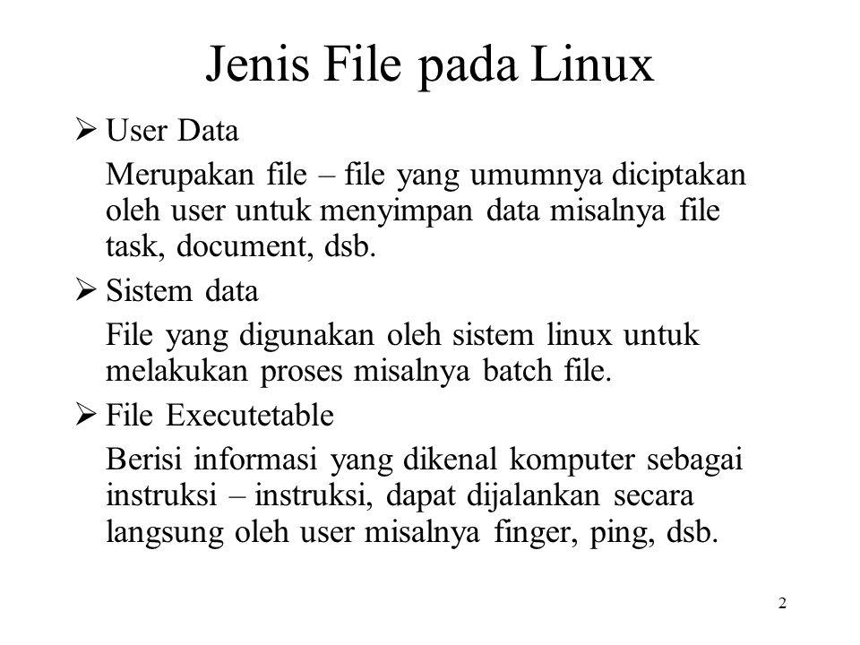 2 Jenis File pada Linux  User Data Merupakan file – file yang umumnya diciptakan oleh user untuk menyimpan data misalnya file task, document, dsb.