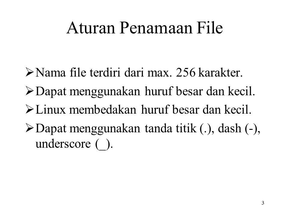 3 Aturan Penamaan File  Nama file terdiri dari max. 256 karakter.  Dapat menggunakan huruf besar dan kecil.  Linux membedakan huruf besar dan kecil