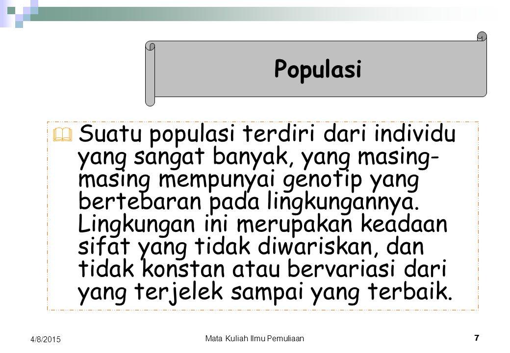 4/8/2015Mata Kuliah Manajemen Pemuliaan Ternak 6 OLEH Zasmeli Suhaemi